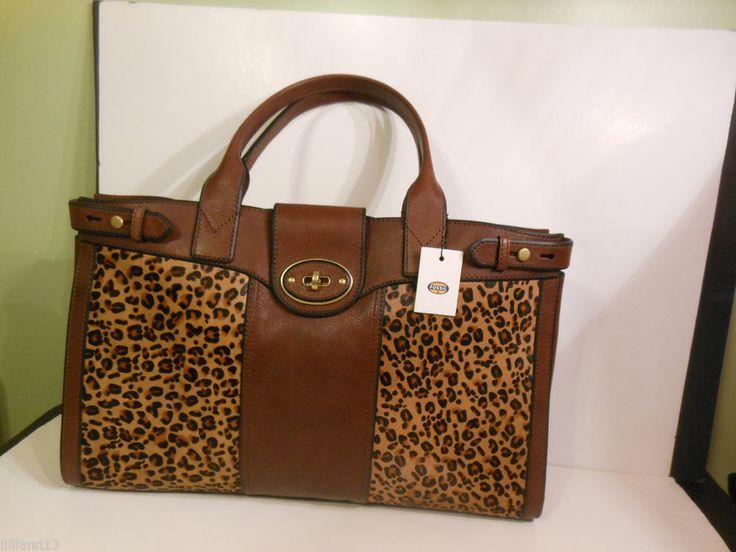 Fossil Weekender Purse Handbag Cheetah Large Satchel New ...
