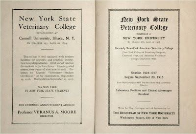 publication advertising two New York State Veterinary Colleges...one at Cornell and one at New York University