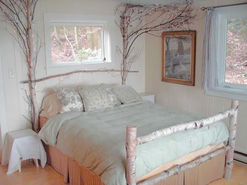 Birch tree bed and blue decor