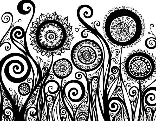 Original Ink Pen Drawing of Flowers, Swirls, and Pods - 11x14 Black and White Illustration by Sometimes I Swirl