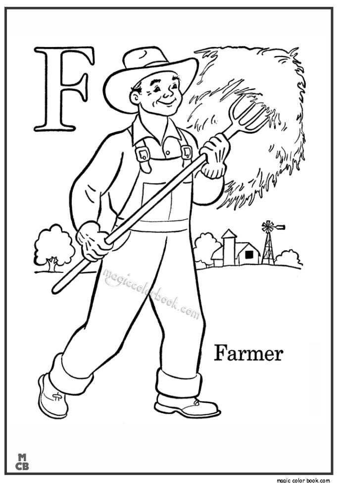 Kids Farm ABC Coloring Pages Free Printable Letter F Pre K Alphabet Featuring Page Sheets