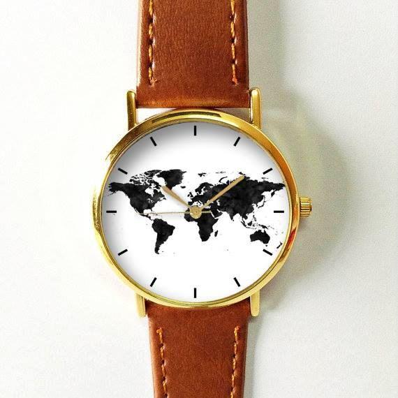 Wereld kaart horloge, routekaart, reizen sieraden, Reisbenodigdheden, reizen…