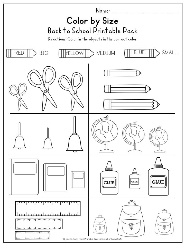 Back To School Printable Worksheets Pack Free Printable Worksheets For Kids In 2021 Kids Worksheets Printables Business For Kids Learning Shapes Free printable size worksheets for