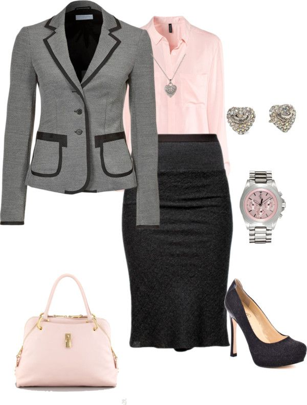 """""""Business Meeting"""" Don't like the pink and earrings, but really like the rest of the outfit."""