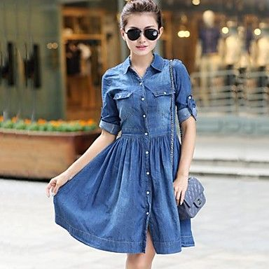 Women's Denim One Piece Slim Jeans Dress - BRL R$ 84,50