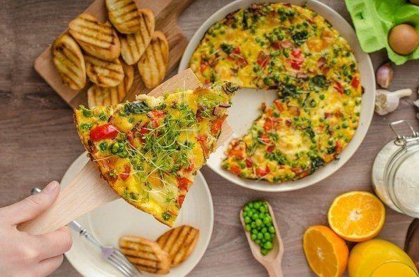 Фриттата с беконом и шпинатом  Ингредиенты:  Яйца — 6–7 шт. Бекон — 250 г Тертый сыр — 150 г Спаржа — 1 небольшой пучок Шпинат — 0,5 стак. Лук — 0,5 шт. Красный сладкий перец — 1 шт. Картофель — 3–4 шт. Маринованные помидоры — 5 шт. Соль — по вкусу Перец — по вкусу  Приготовление:  1. Лук и бекон нарезать тонкими полосками и обжарить на разогретой сковороде. Помидоры и перец измельчить, добавить к луку и бекону. Немного потушить. 2. Спаржу и картофель нарезать мелкими…