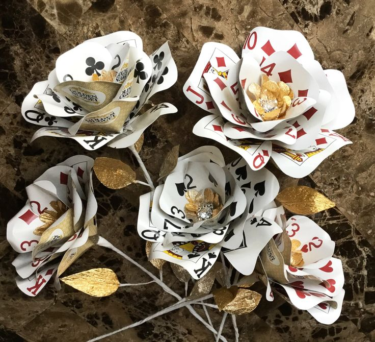 Playing Card Flowers, Gold, Bling, Casino Party, Vegas Wedding, Poker Flowers, Casino Decor, Poker Centerpieces, Paper Flowers, Playing Card by ThePaintedPetaler on Etsy https://www.etsy.com/listing/268645487/playing-card-flowers-gold-bling-casino