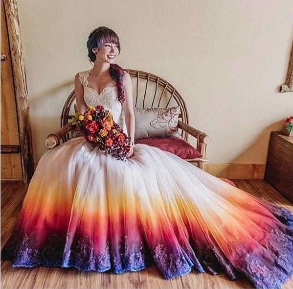 The dip-dye fad was popularized by this wedding dress, with its bold, sunset colors that made the Internet fall in love. - James Tang Photography