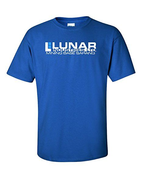 Lunar Industries. Moon. Movie. Flocked Premium T-shirt: Amazon.co.uk: Clothing