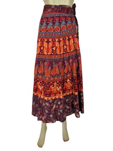 Boho Cotton Wrap Skirt Maroon Sarong Print Gypsy Hippie Long Maxi Skirt 38"