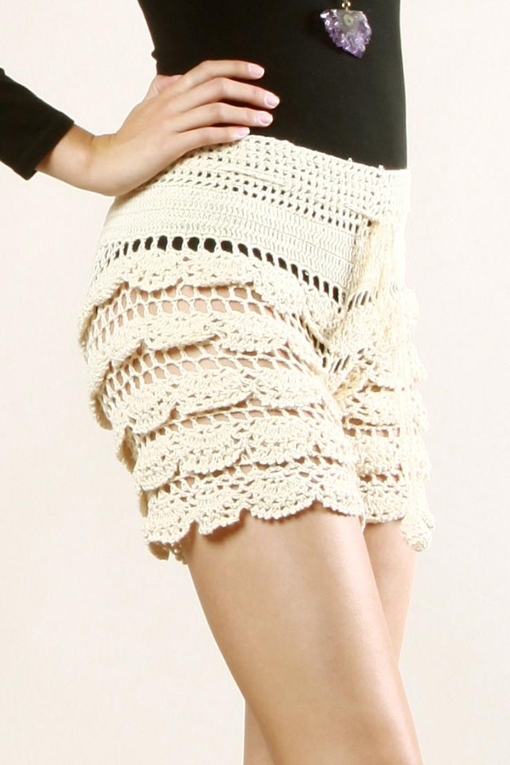 Scalloped Crochet Shorts
