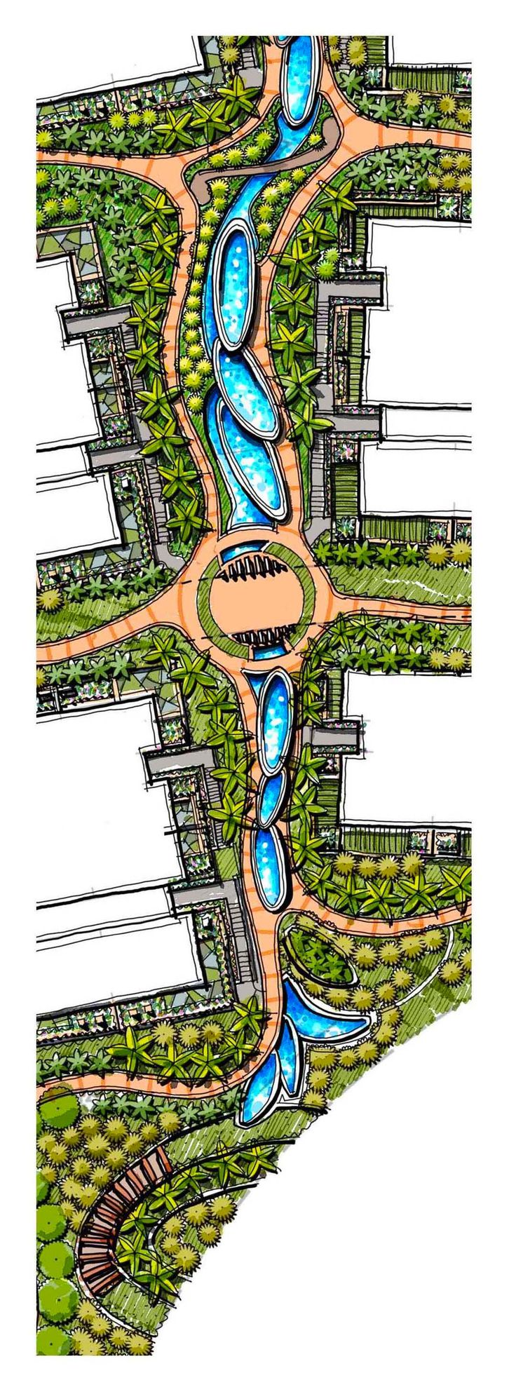 Plan Blow up of cascading Water Feature, Freehand Landscape Master Plan