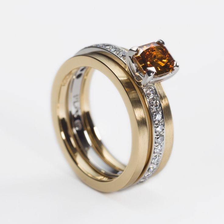 Platinum and 18ct yellow gold engagement ring set, with 0.78ct fancy brown diamond and pavé set diamonds. 2 gold wedding bands compliment. Engagement rings Cork city.