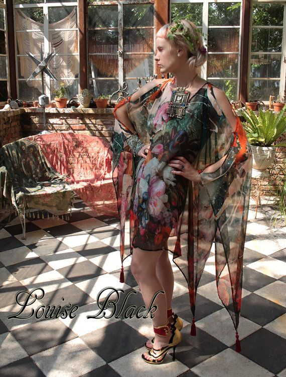 Opium Dreams Garden Party Gypsy Caftan Tassel Dress by Louise