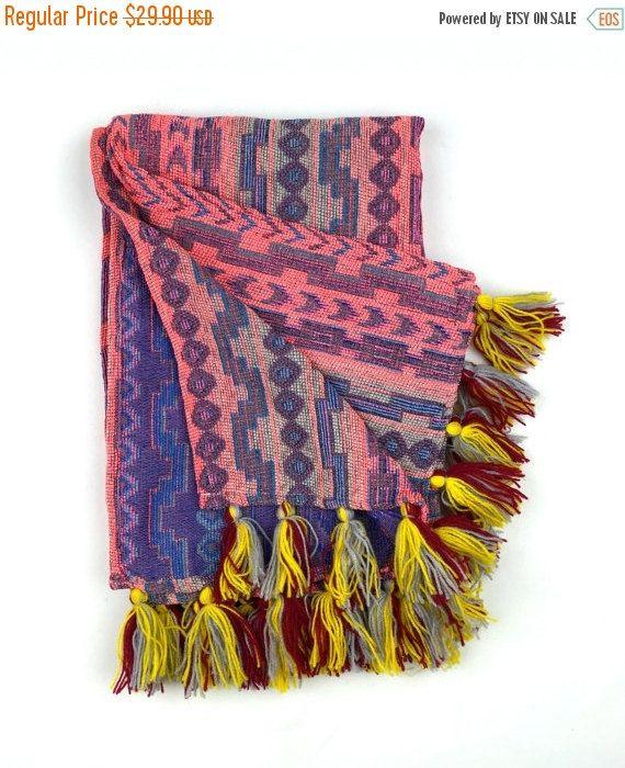 Ombré Amaranth Pink blanket Tribal Aztec Blanket by Tribalover