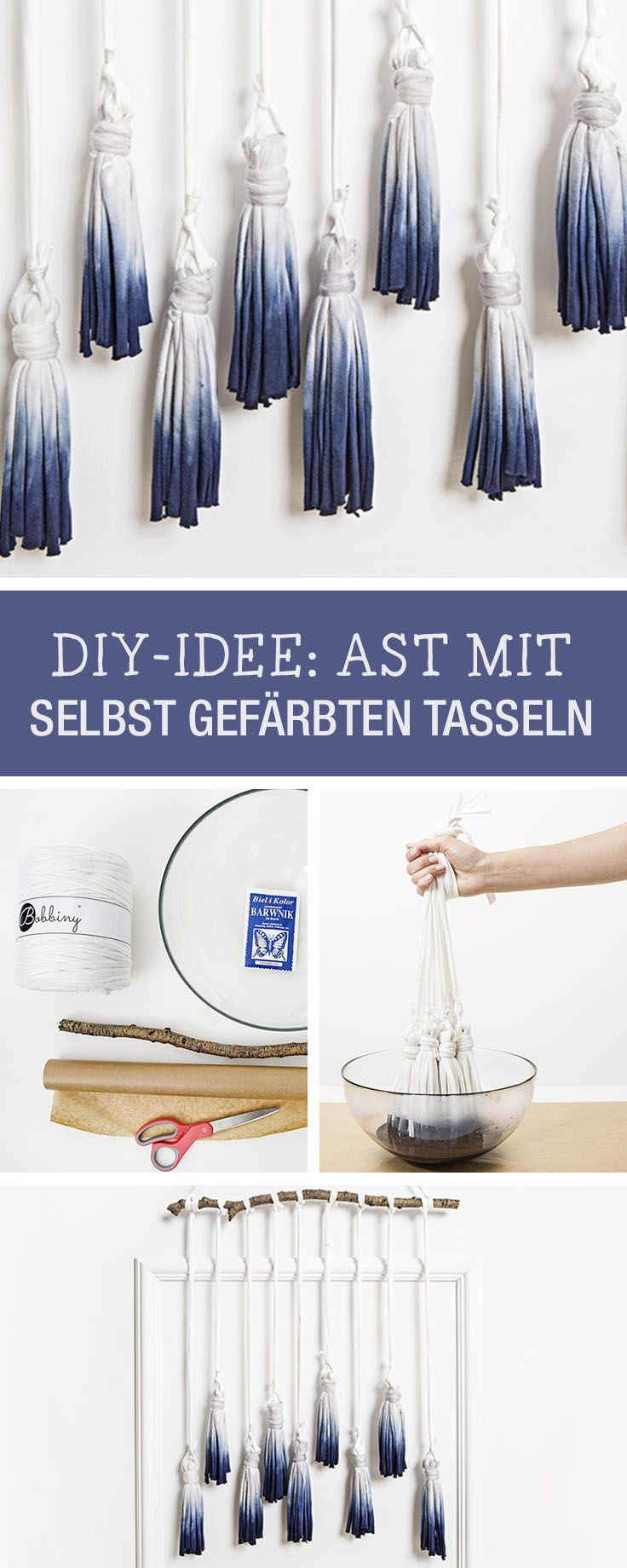 DIY-Anleitung: Ast mit selbst gefärbten Tasseln verschönern, Deine kreative Wohndeko / DIY tutorial: embellish branch with dyed tassel via DaWanda.com