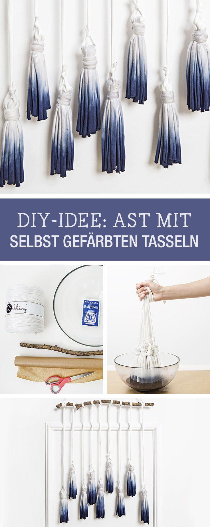DIY-Anleitung: Ast mit selbst gefärbten Tasseln verschönern, Deine kreative Wohndeko / DIY tutorial: embellish branch with dyed tassel via DaWanda.com