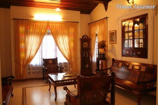 Living room with antique furniture from Kerala, India