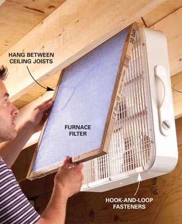 Great for the work shop Attach a furnace filter with hook-and-loop tabs to the air intake side of a box fan. Fine dust particles from sanding and sawing will be drawn into the filter by the vacuum created by the fan.