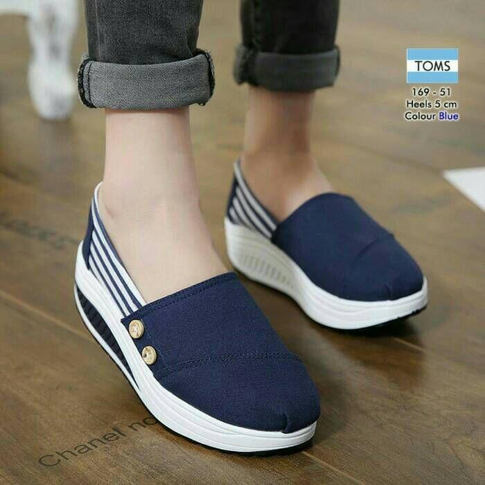 Sepatu Tom Kancing Blaster Biru Sepatu Tom Sepatu Sepatu Lari