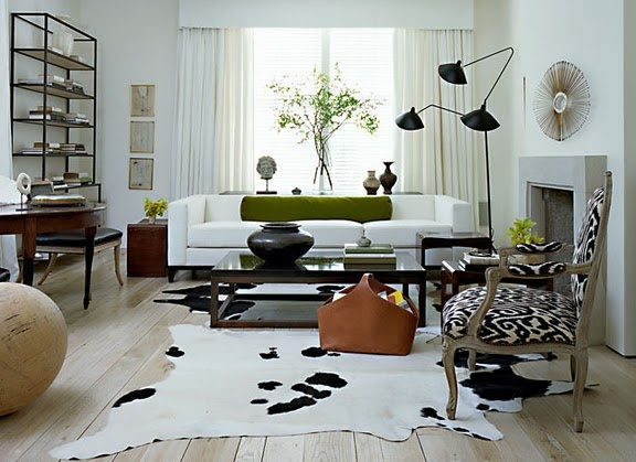 white leather geometricLiving Rooms, Betsy Brown, Floors, Chairs, Black And White, Livingroom, Interiors Design, Black White, Cowhide Rugs