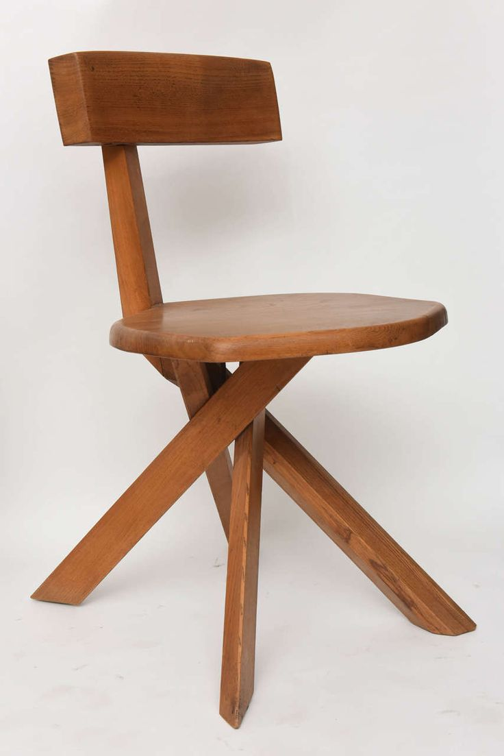Set of Four Unusual French Modern Oak Chairs, Pierre Chapo | From a unique collection of antique and modern chairs at https://www.1stdibs.com/furniture/seating/chairs/
