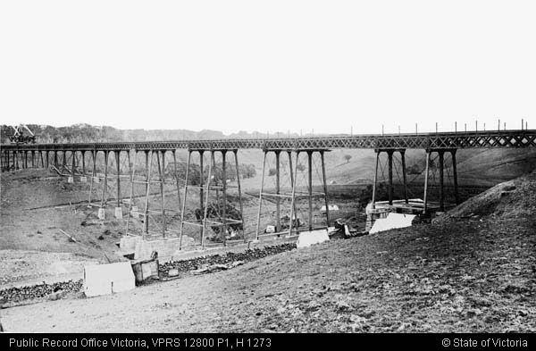 Construction of Werribee River viaduct, Melton 1885