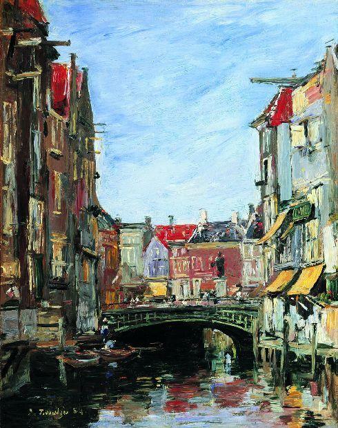 La Place Ary Scheffer, Dordrecht | E. Boudin. Boudin schildert hier het Ary Scheffer plein, één van de mooiste doorkijkjes van Dordrecht. Ary Scheffer is één van de grote schilders van Dordrecht en het Dordrechts Museum bezit de grootste Scheffercollectie ter wereld. Als je goed kijkt, zie je het beeld van Ary Scheffer ook afgebeeld op het schilderij.