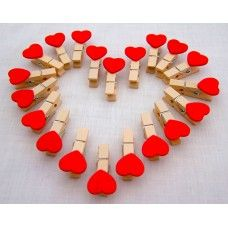 Mini Heart Pegs /Clips Red Wooden