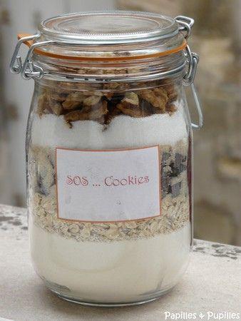 A offrir à ses invités, le SOS cookies, à ouvrir en cas d'urgence :) Pour un bocal de 1 litre, il faut : •250g de farine •1 cuillère à café de bicarbonate (dans n'importe quelle grande surface) •1 cuillère à café de levure chimique (1/2 sachet) •1/4 de cuillère à café de sel •100g de flocons d'avoine •200g de pépites de chocolat (j'utilise des chunks, la taille au dessus de la pépite que j'achète chez Detou à Paris) •100g de sucre roux •100g de sucre blanc •100g de noix