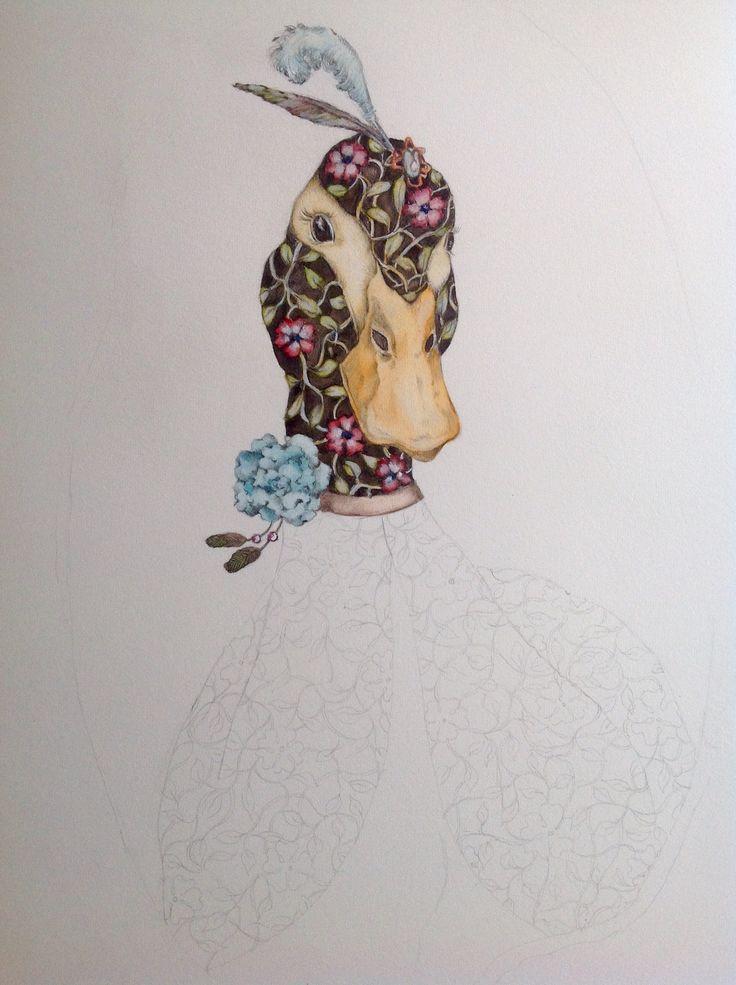 Duck illustration watercolor WIP# illustration ad acquarello