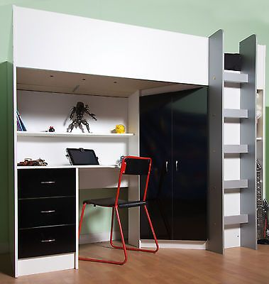 CALDER LOFT HIGHSLEEPER CABIN BED BLACK GLOSS DESK WARDROBE AND DRAWERS R227HGB