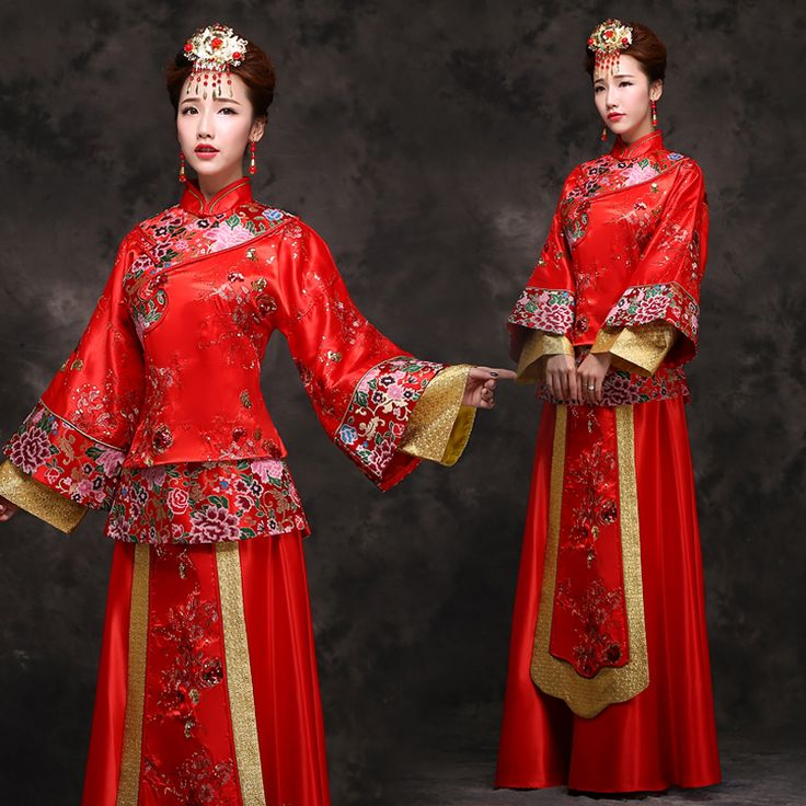 秀禾服大码古装新娘装嫁衣中式敬酒服结婚礼服长款旗袍秀和服冬季-淘宝网