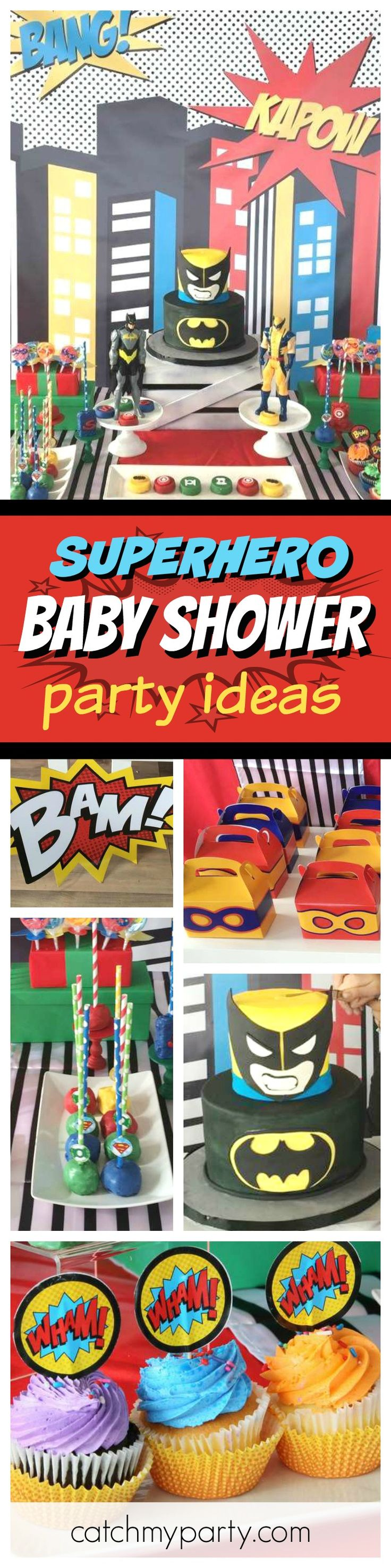 Check out this awesome Superhero themed Baby Shower!! The dessert table is fantastic!! See more party ideas and share yours at CatchMyParty.com