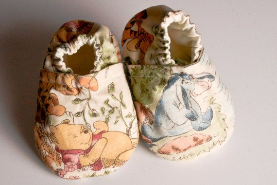 Unisex Cloth Baby Crib Shoes in Classic Winnie the Pooh Newborn through 2T sizing available by BlueHouseWhite, $12.00