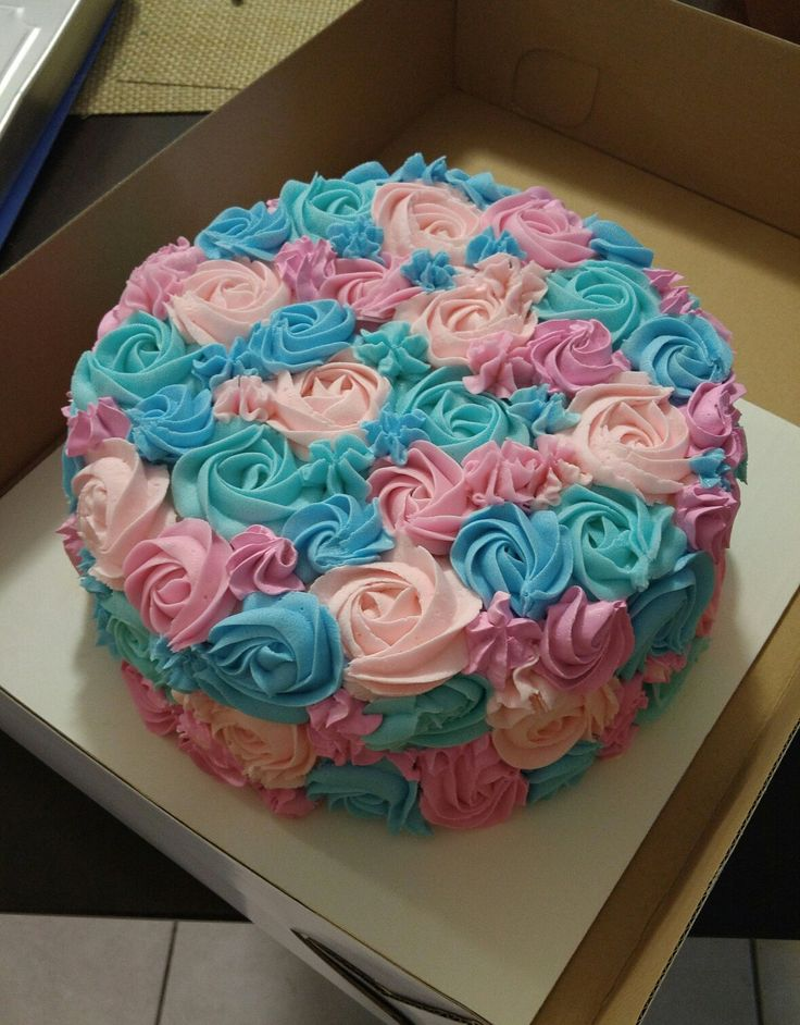 Pink and Blue Rosettes Gender Reveal Cake