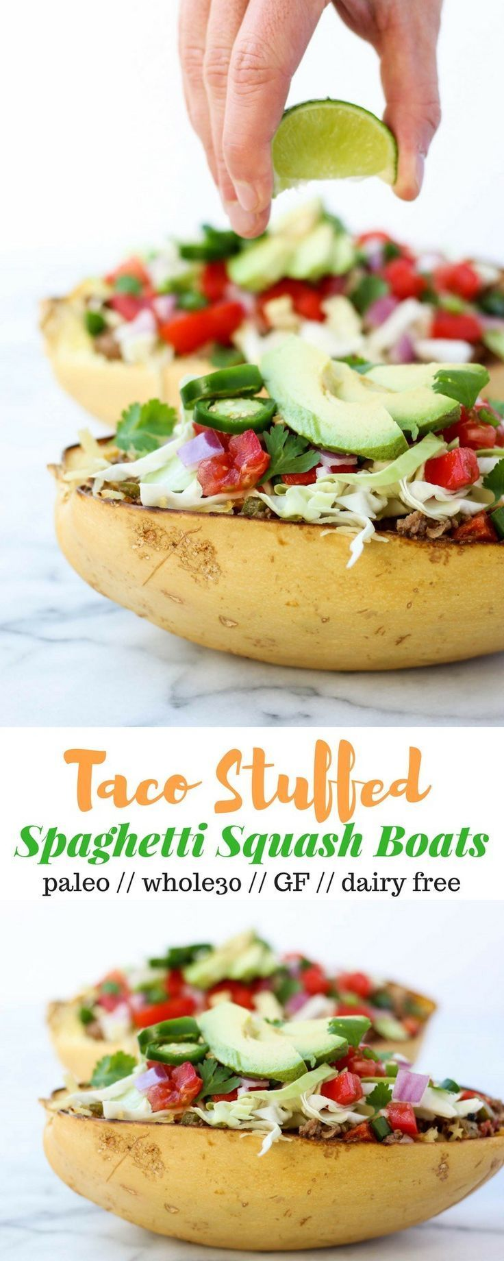 Taco Spaghetti Squash Boats bring you the taco flavors without the tortillas! They're loaded withprotein and veggies and are paleo and Whole30 complaint! - Eat the Gains