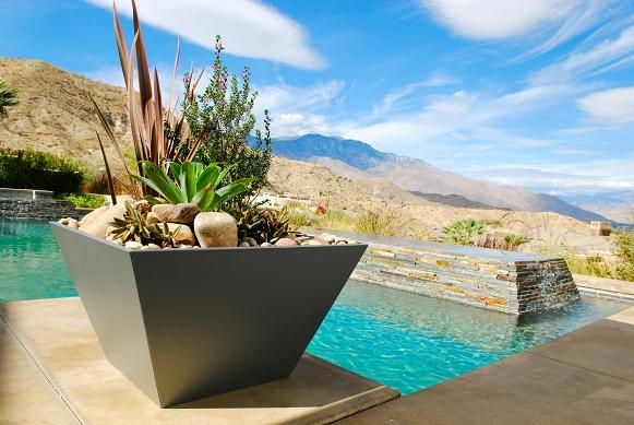 contemporary planter with desert plants