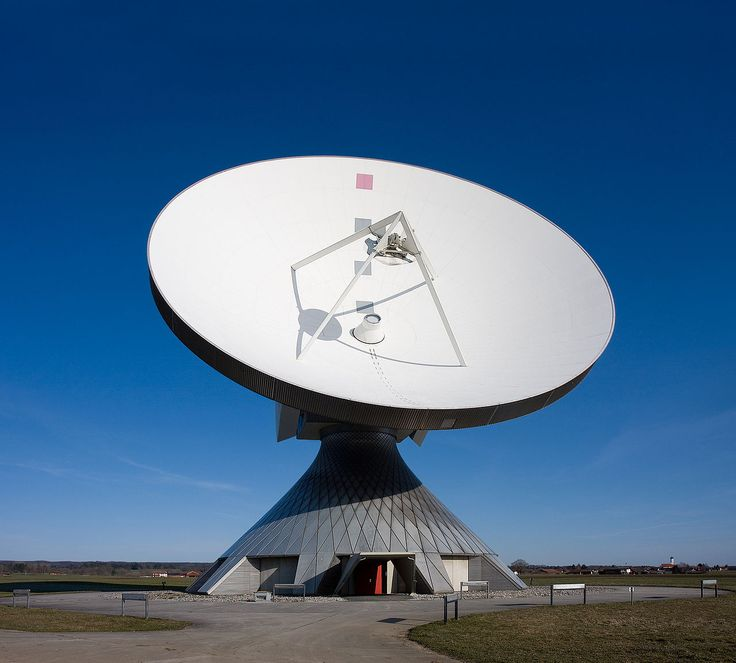 A parabolic satellite antenna for Erdfunkstelle Raisting, based in Raisting, Bavaria, Germany.