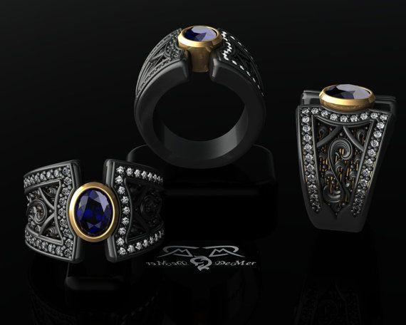Boardroom meets Back Alley! Big Sapphire wide ring. Gold, Black Silver, diamond cut wht sapphire.