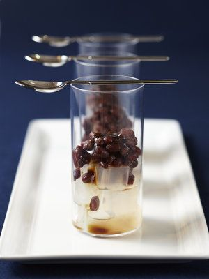 Japanese sweets, Anmitsu - small cubes of agar jelly with sweet azuki bean paste