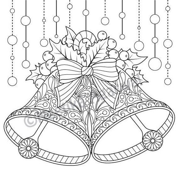 Christmas Bells - Adult Coloring Page - Christmas Coloring ...
