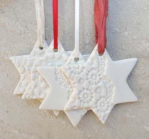 Personalised Christmas decoration white stars orna…