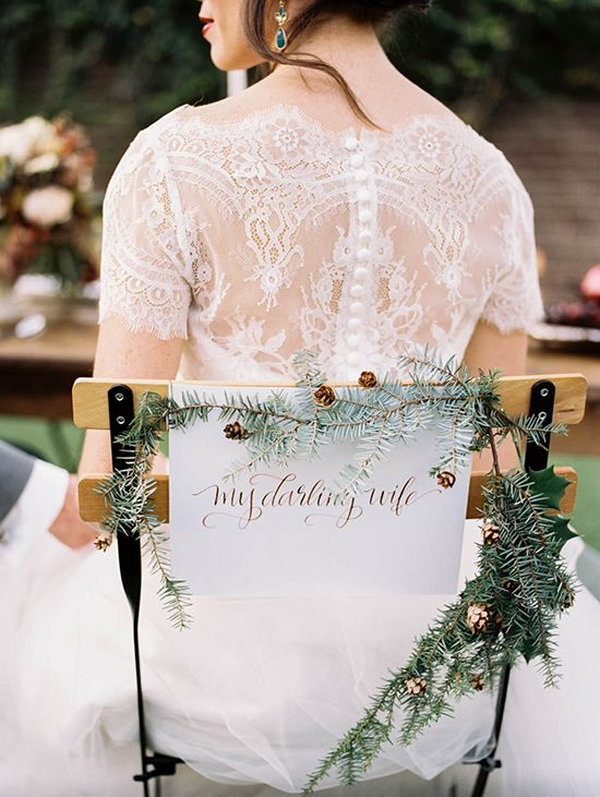 """Hand written chair sign that says """"My Beloved Wife!"""""""