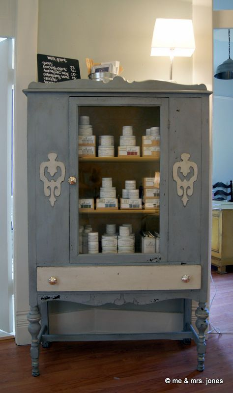 china cabinet, after a miss mustard seed's milk paint re-do