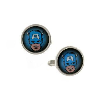$24.00 + S/H from #TheSingingSpaniel's #BridalGifts and #Collectibles - #Retro #Captain #America #Comic #Face #Silver Tone #Cuff #Links - #Officially #Licensed from #Marvel #Comics by #JewelM! #cufflinks - #Vintage #Style- The most #patriotic and the #first #superhero of the #Avengers - GREAT #Wedding #present for #Grooms and #Groomsmen, and also great for #Prom and #formal #black #tie #events and especially #geeks, #freaks, and #NERDS!