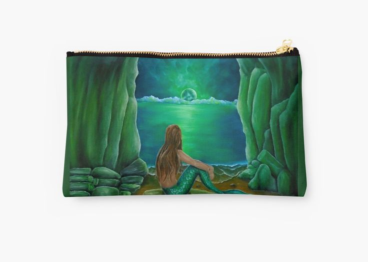 Studio Pouch,  mermaid,green,fantasy,cool,beautiful,unique,trendy,artistic,unusual,accessories,for sale,design,items,products,presents,gifts,ideas,carry all pouch,redbubble