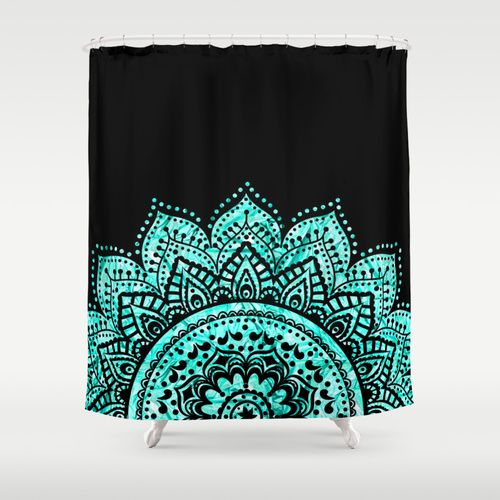 Black And Blue Teal Mandala Shower Curtain