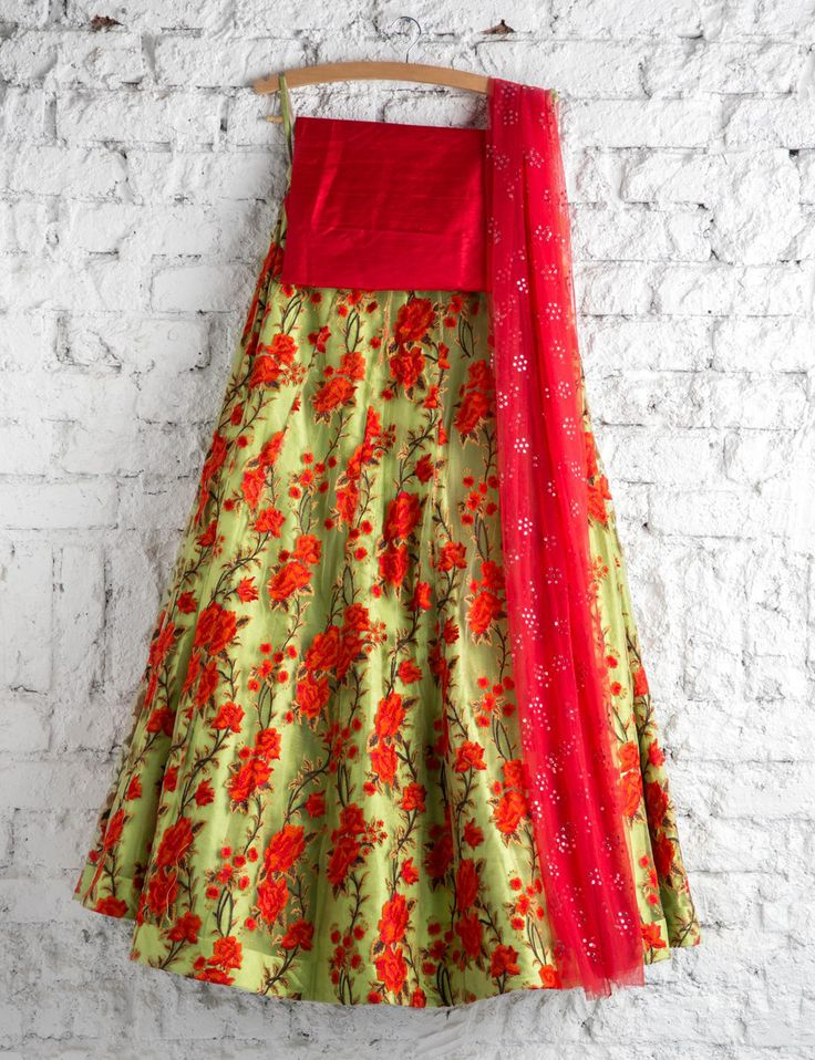 SwatiManish : Leaf green lehenga with red thread work and red badal dupatta SOLD