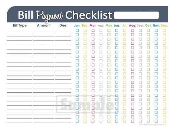 home finance bill organizer template - bill payment checklist printable editable personal